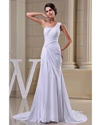 one shoulder wedding dress sheath one shoulder sweep chiffon wedding dress op5027