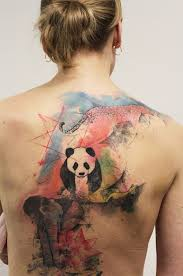 amazing panda and elephant back tattoo tattoomagz