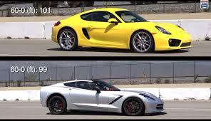 porsche cayman comparison porsche cayman s versus c7 corvette stingray brake dive comparison