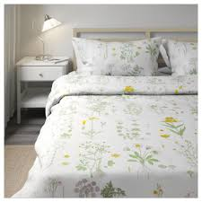 Yellow Patterned Duvet Cover Strandkrypa Quilt Cover And 4 Pillowcases Floral Patterned White