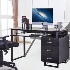 Desk Trays Walmart Merax Large Glass Computer Desk Office Desk With Keyboard Tray And