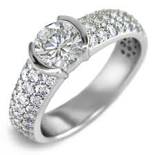 rings pave images 14kt white gold half bezel pave engagement rings jpg