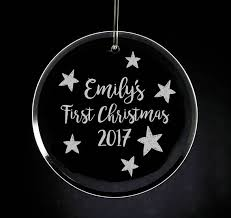 etched glass ornaments personalized baby s christmas glass ornament personalized glass