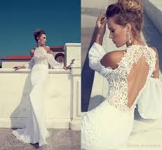 vintage julie vino 2017 beach wedding dresses crew neck backless