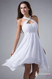 white graduation dresses for 8th grade white chiffon knee length a line with straps graduation dress for