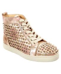 christian louboutin louis orlato studded leather sneaker in pink