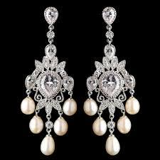 and pearl chandelier rhodium cz freshwater pearl chandelier earringsidal