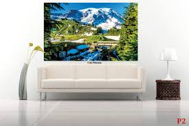 Mountain Mural Wall Art Wallpaper Mural Winter Sight With Mountain Tops And A Bridge