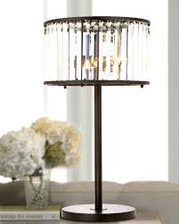 Small Table Lamp With Crystals Crystal Drum Shade Black Iron 3 Lights Table Lamp At Lightingbox