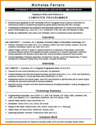 Resume Sample For Computer Programmer by Entry Level Computer Programmer Resume Resume For Your Job