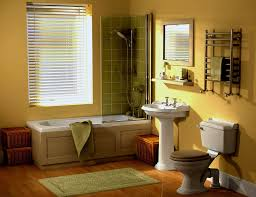 bathroom design round sink with small square mirror yellow lamp
