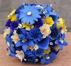 Royal Blue Corsage And Boutonniere Royal Blue And Yellow Wedding Bouquets Pomanders Corsages And