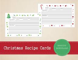 christmas recipe cards printable and editable for digital