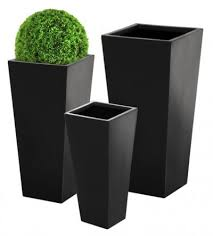 Large Head Planters Tall Flared Square Polystone Black Planter Large H1m X W47cm