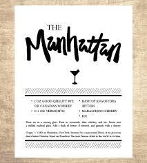 printable shot recipes manhattan cocktail recipe art print art prints posters