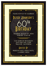 man u0027s 60th birthday invitation black gold art deco