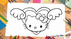 draw kitty love heart wings ho draw