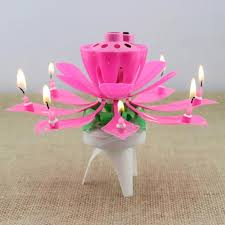 musical birthday candle 1x pink magical flower musical birthday candle party decoration