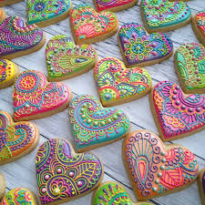 decorated cookies decorated heart cookies paisley heart cookies