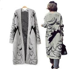 winter thicken grey fashion hand painted women long wool cardigan