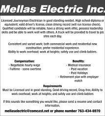 licensed journeyman electrician mellas electric inc