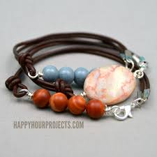 bead bracelet stone images Side clasp leather and stone bead bracelets happy hour projects jpg