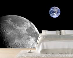 interior space themed cool wallpaper ideas in white theme bedroom