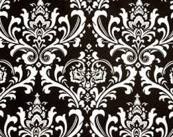 Black And Cream Damask Curtains Damask Fabric Etsy
