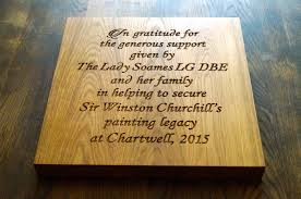 engraved bespoke wooden plaque for the national trust