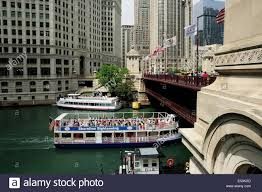 architectural tour guide boat cruising the chicago river stock