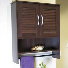 Black Bathroom Wall Cabinet Purple Colored Towel With Black Towel Bar And Coffee Brown