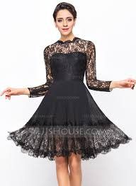 a line princess scoop neck knee length chiffon lace cocktail dress