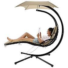 amazon com belleze hanging chaise lounger chair arc stand air
