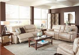 Recliner Living Room Set 2 799 99 Auburn Taupe Grayish Brown Leather 3 Pc