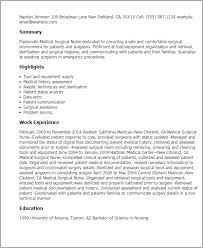 Resume Sample For Doctors by Professional Medical Surgical Nurse Templates To Showcase Your