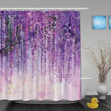 Purple Bathroom Curtains Custom Watercolor Drawing Purple Flower Shinny Day Shower