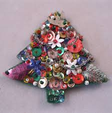 1950s handmade christmas tree brooch sequins felt seed beads