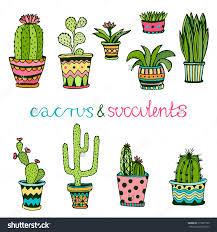 cacti hand drawn sketch set succulents houseplants flowerpots save