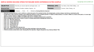 Machine Operator Resume Example by Sewing Machine Operator Resume Sample