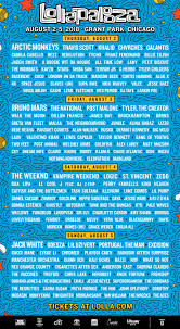lineup by day lollapalooza