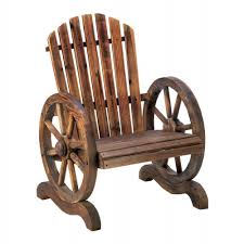 old country style wood wagon wheel outdoor garden chair