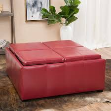 leather tray top ottoman adrielle cube shaped faux leather tray top ottoman