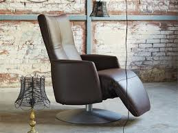 swivel recliner leather armchair with motorised functions with