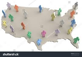 Map Of Unite States by Group People On Map United States Stock Illustration 193276778