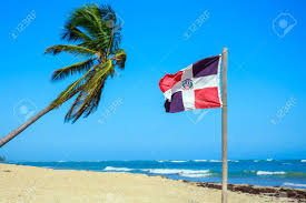 Beach Flag Pole Dominican Republic Flag On The Beach Stock Photo Picture And