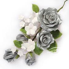 silver roses silver spray 145mm cake links ltd