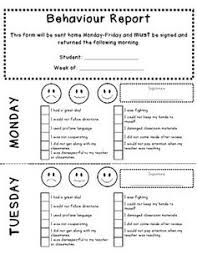 daily behavior report template this form is used in a kindergarten classroom to notify parents of