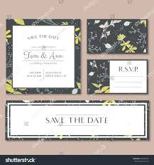 Invitation Card With Rsvp Vector Template Wedding Invitation Card Herbs Stock Vector