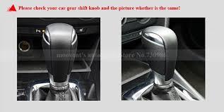 xuji black genuine leather gear shift knob cover for for mazda