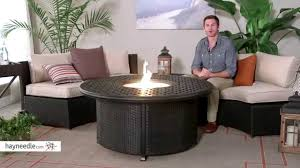 round propane fire pit table alfresco home 52 in weave round propane fire pit with wicker base